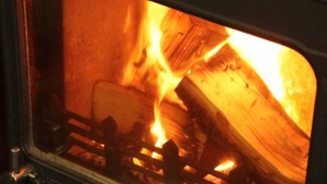 hot wood burning stove fire